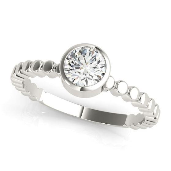 white gold bezel set diamond engagement ring