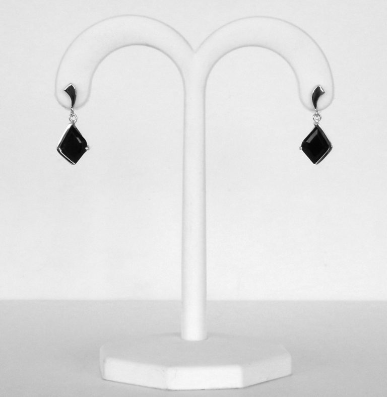 white gold black onyx earrings