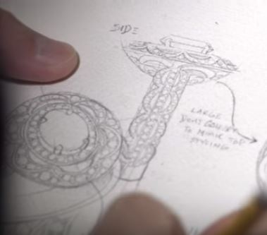 drawing of a custom designed ring
