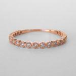 rose gold milgrain edged diamond band