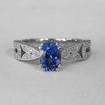 white gold sapphire art deco ring