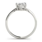 side view of white gold oval diamond solitaire engagement ring