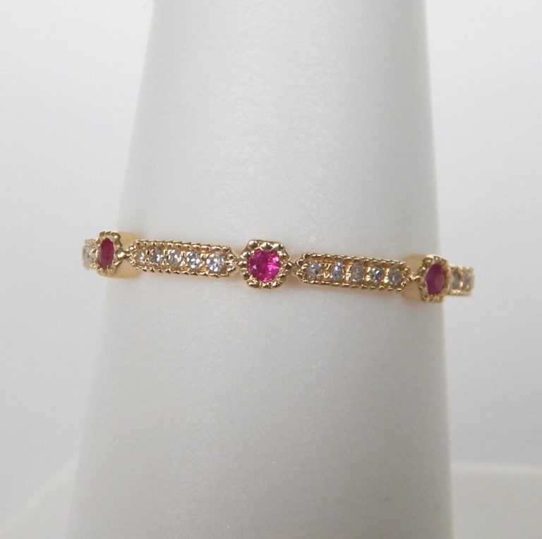 yellow gold ruby and diamond stacking ring