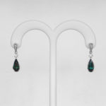 green tourmaline and diamond earrings in white gold setting