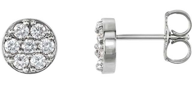 platinum diamond cluster studs