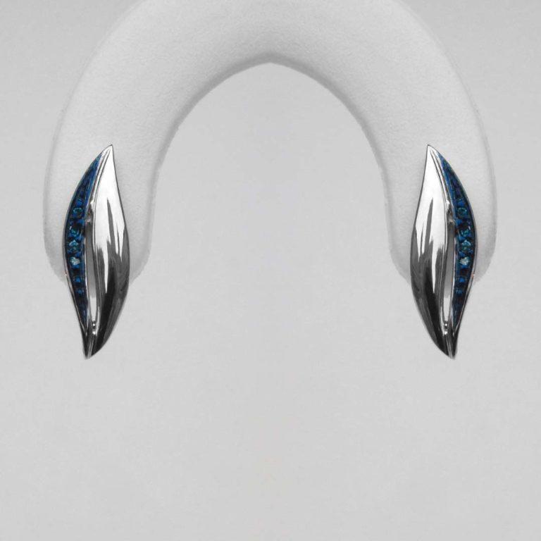 blue diamond sterling silver earrings