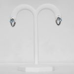 blue topaz and diamond sterling silver earrings