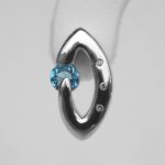 blue topaz and diamond sterling silver earring