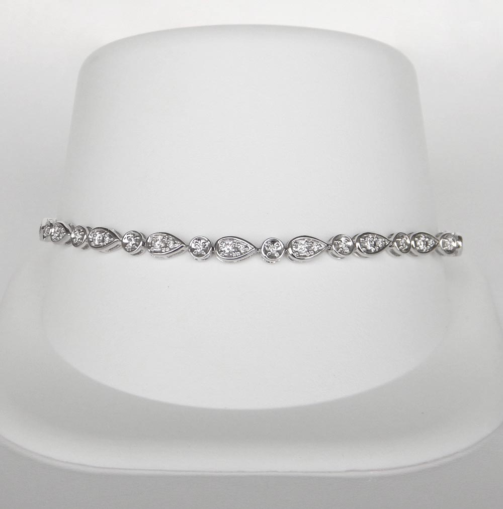 white gold various shaped diamond bracelet