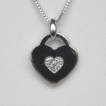 white sapphire heart pendant sterling silver