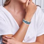 sterling silver blue cuff bracelet on wrist