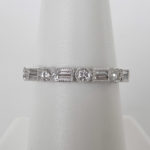 alternating shape white gold diamond band