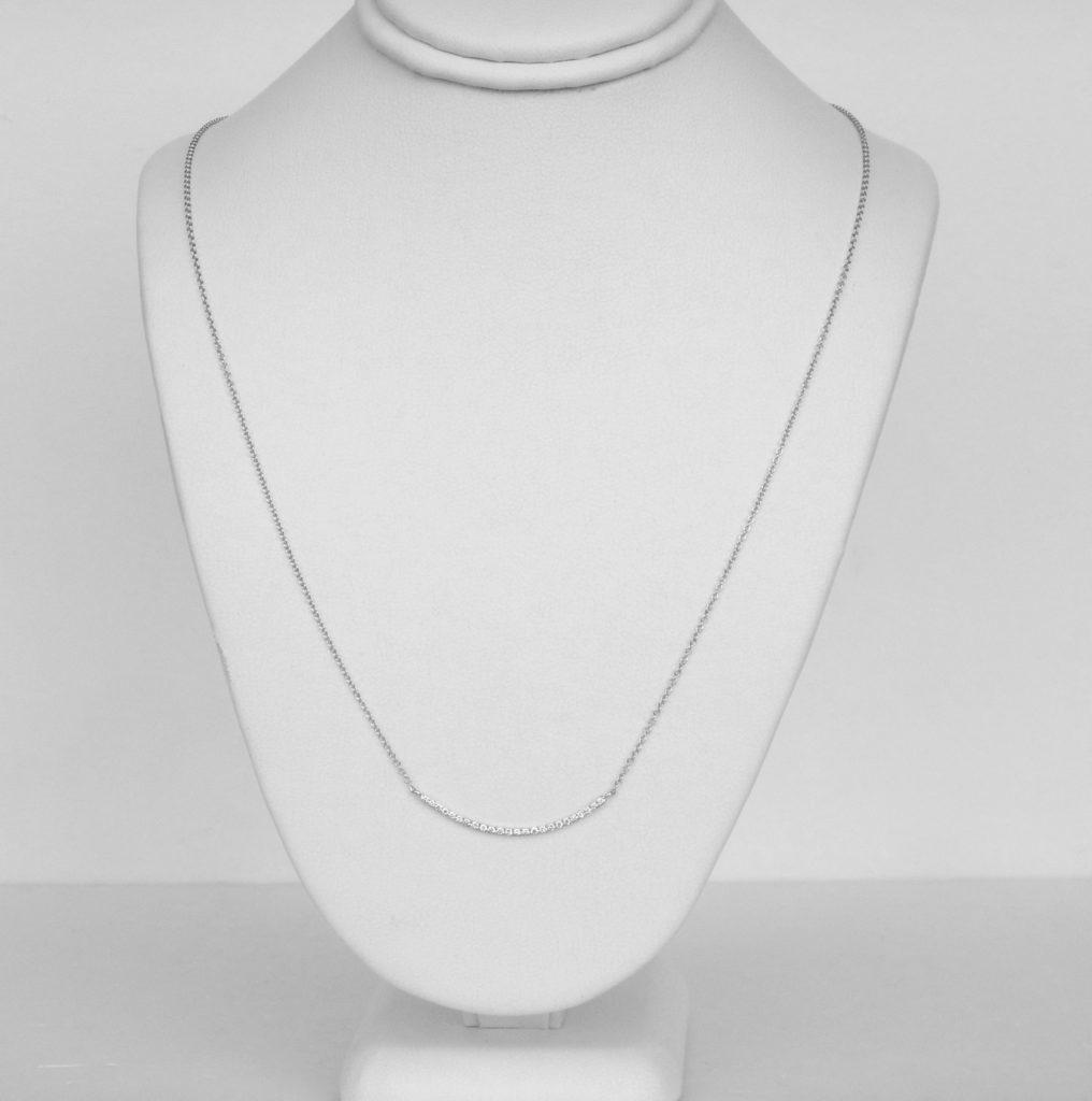 white gold diamond bar necklace