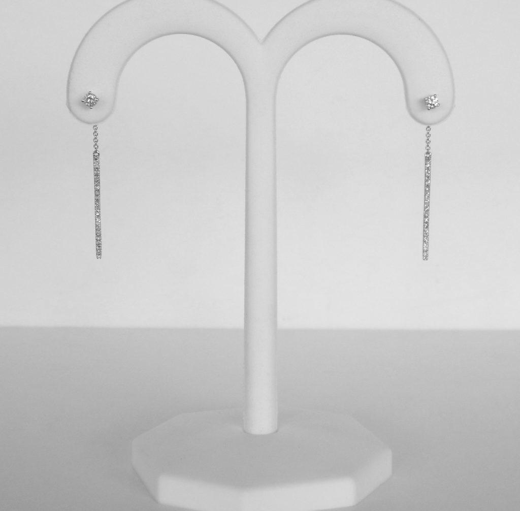 white gold diamond line dangle earrings