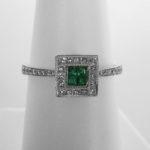 white gold emerald and diamond art deco ring
