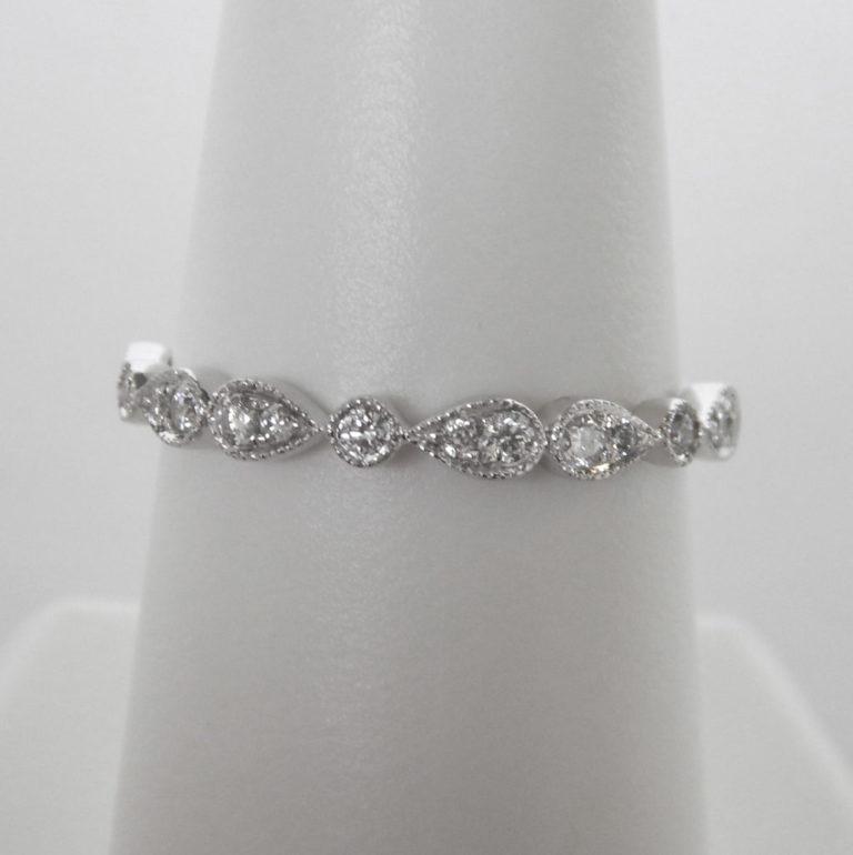 white gold milgrain edge diamond band