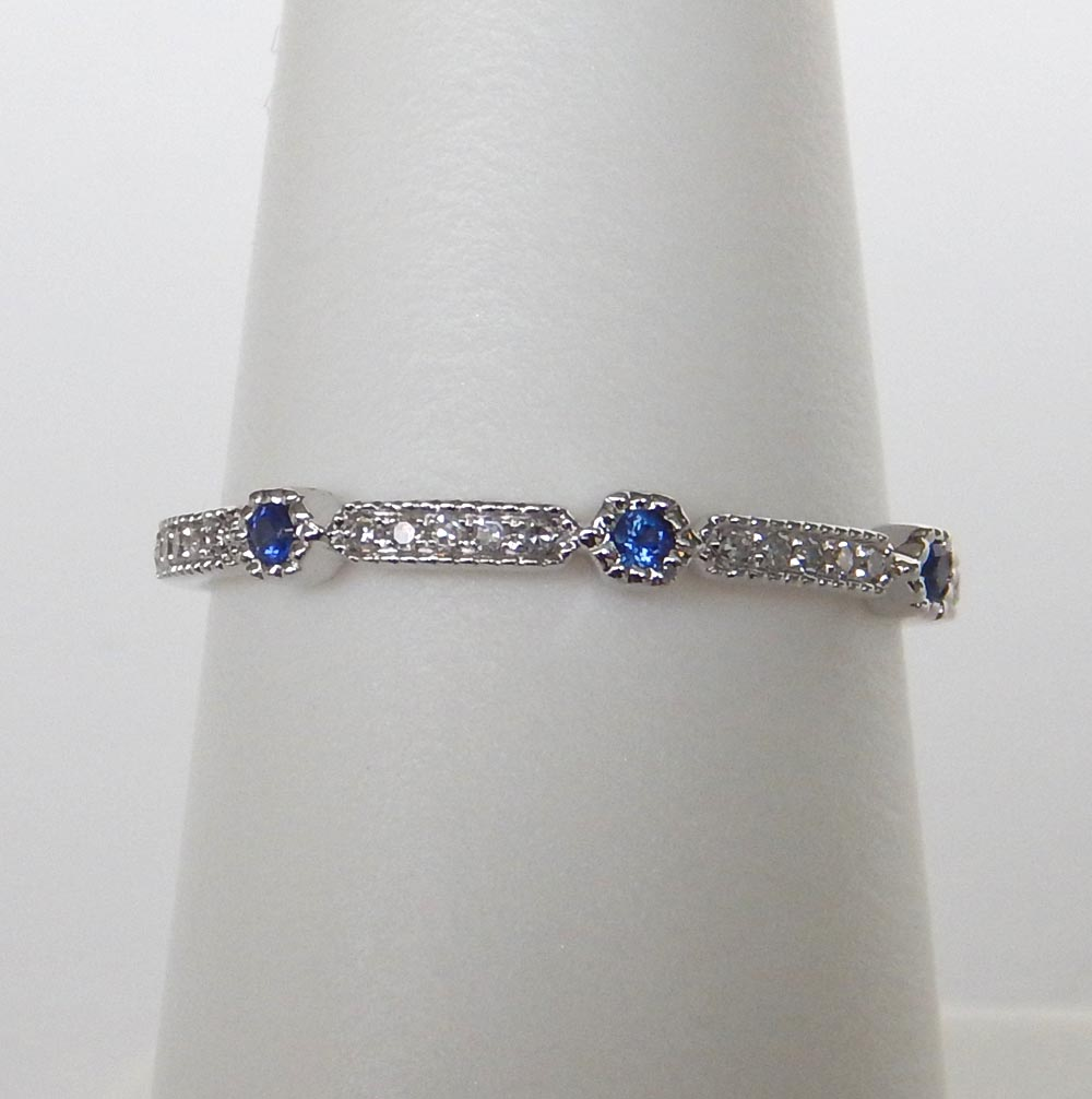 milgrain sapphire and diamond white gold band