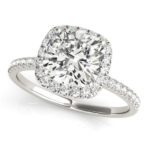 white gold cushion cut diamond halo engagement ring