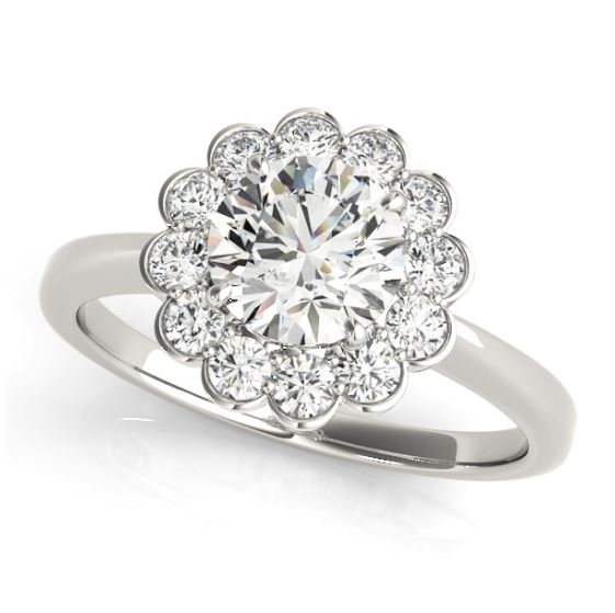 white gold diamond halo floral engagement ring