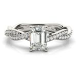 emerald cut diamond engagement ring with twisted band