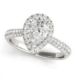 white gold pear diamond halo engagement ring