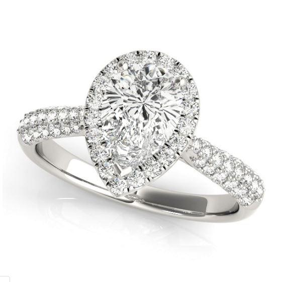 white gold pear diamond halo engagement ring
