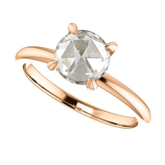 rose gold rose cut diamond engagement ring