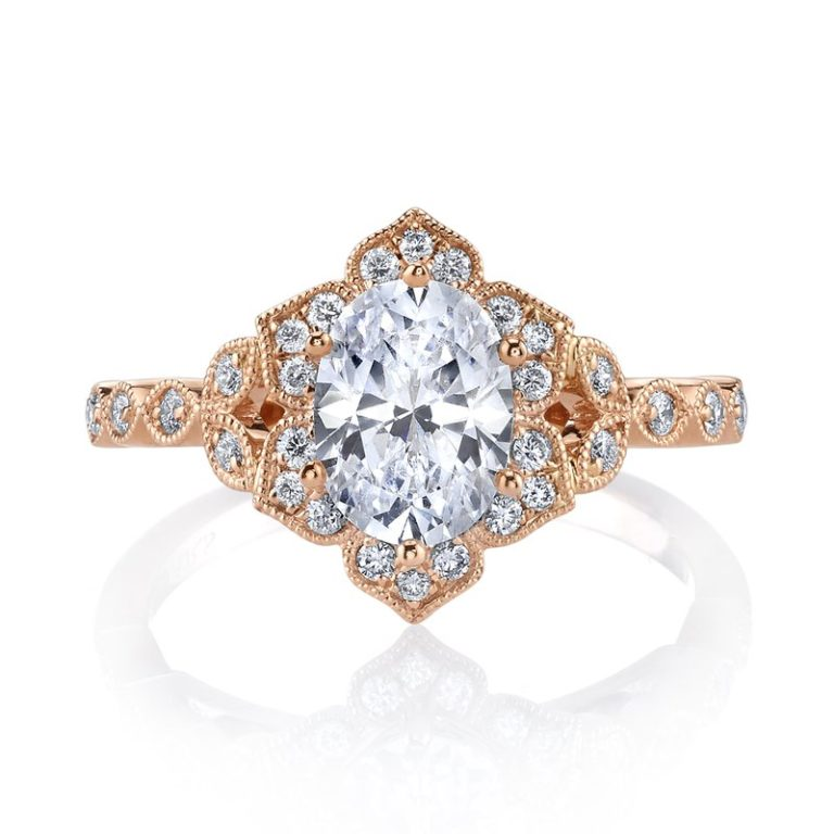 rose gold antique style diamond ring