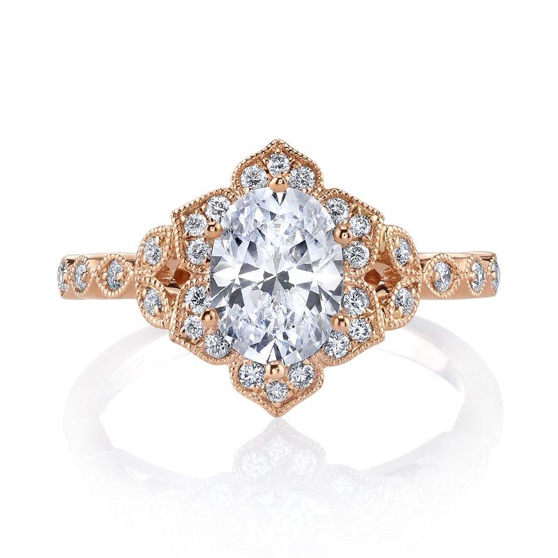 rose gold antique style diamond ring