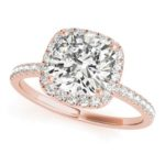 rose gold cushion cut diamond halo engagement ring