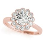 rose gold diamond halo floral inspired engagement ring