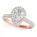 rose gold pear diamond halo engagement ring