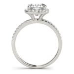 side view of white gold cushion cut diamond halo engagement ring