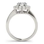 side view of white gold diamond halo floral ring