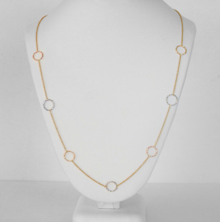tri tone gold circle link necklace