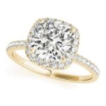 yellow gold cushion cut diamond halo engagement ring