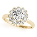 yellow gold diamond halo floral engagement ring