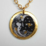 yellow gold leaf moon design pendant