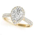 yellow gold pear diamond halo engagement ring
