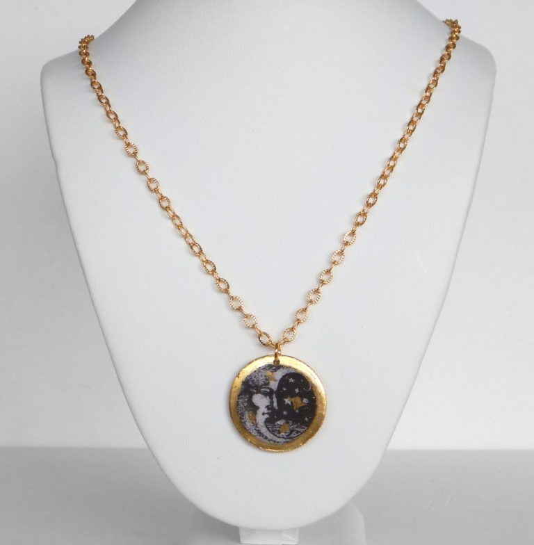yellow gold leaf sun and moon double sided pendant