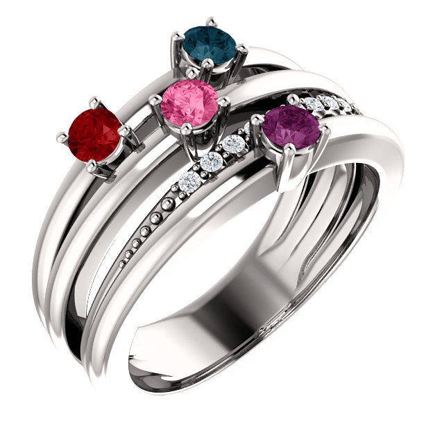 4 stone mothers ring with diamond accents