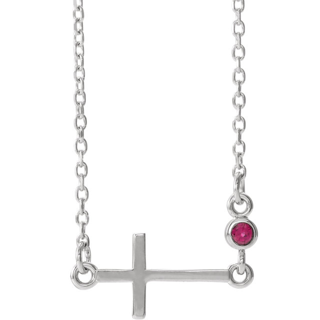 white gold cross birthstone necklace