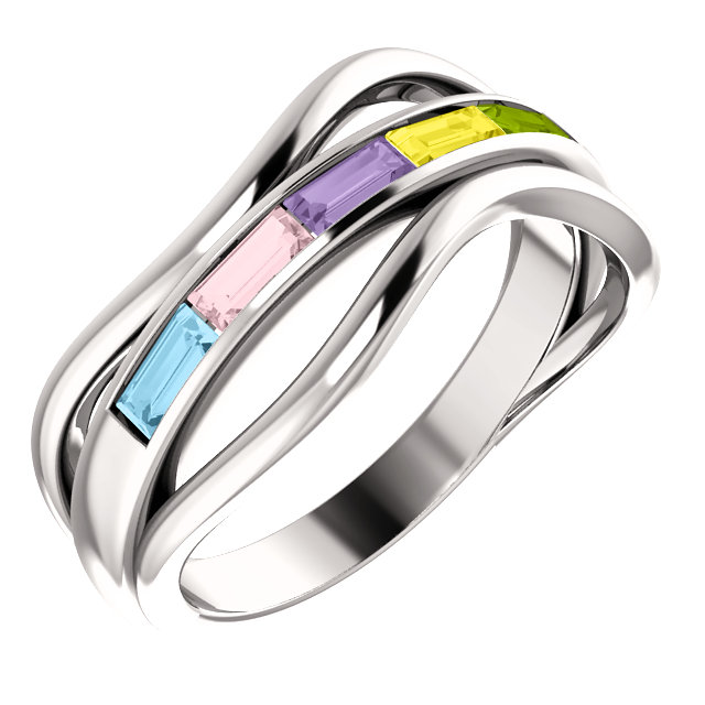 five stone baguette mothers ring