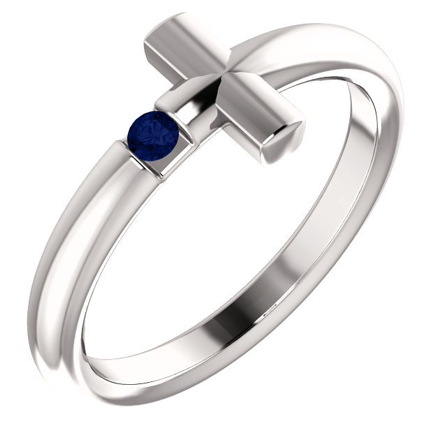 white gold gemstone cross ring