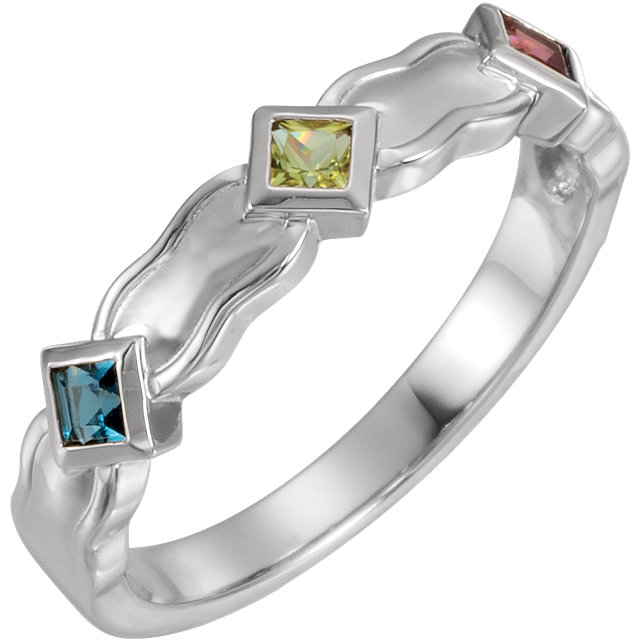 three stone mothers ring with bezel setting