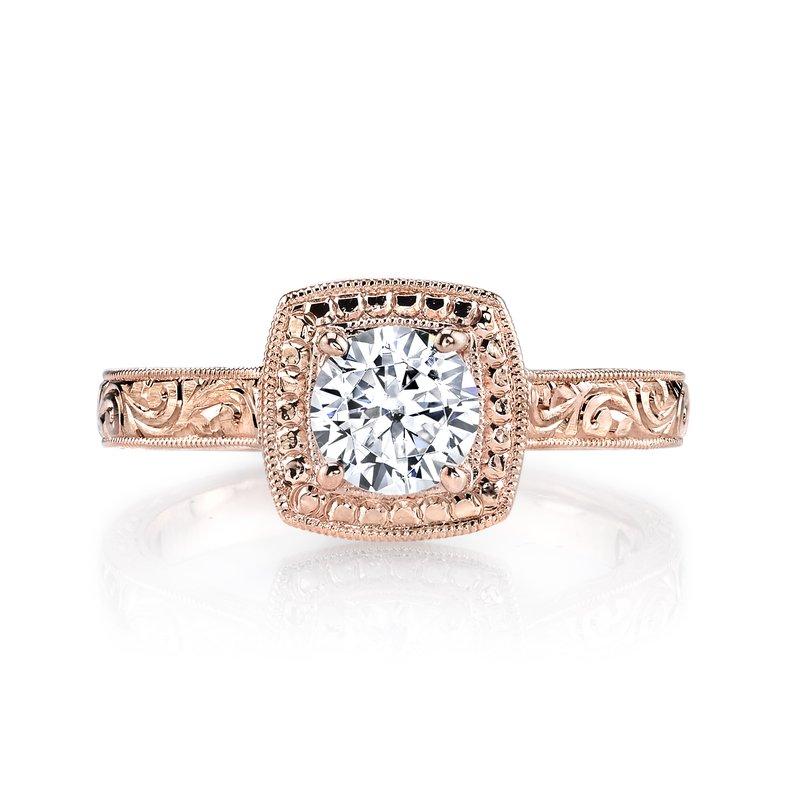 rose gold vintage style diamond engagement ring