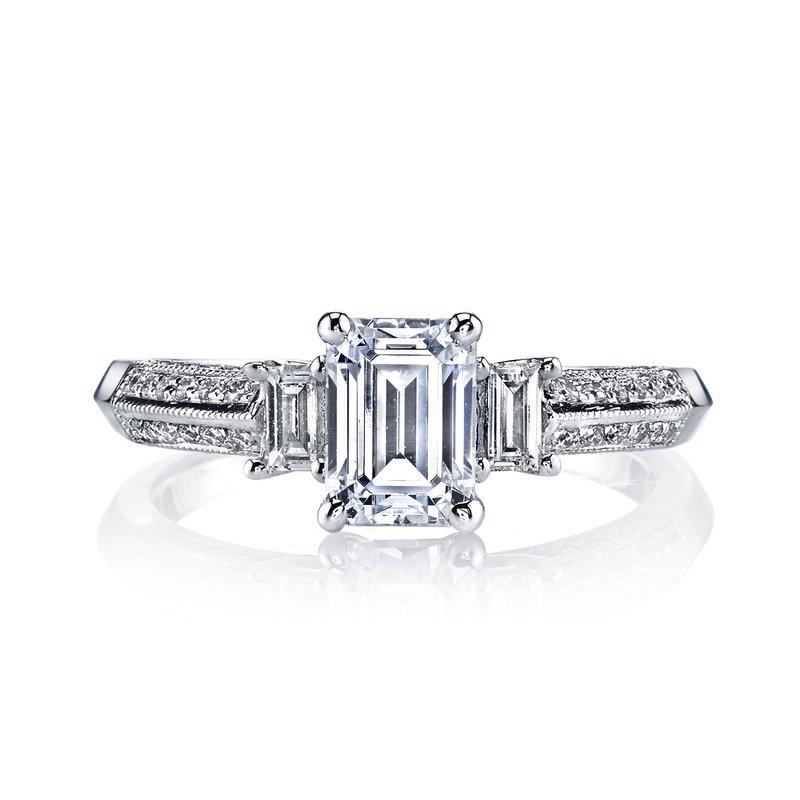 white gold emerald cut diamond vintage engagement ring