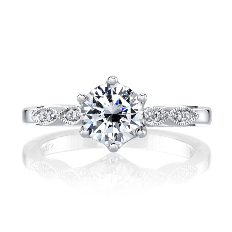 white gold vintage style diamond engagement ring