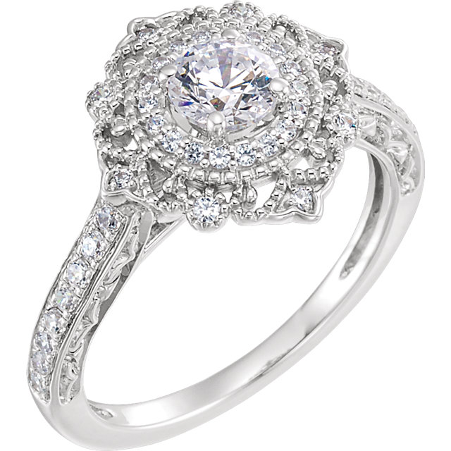 white gold diamond vintage engagement ring
