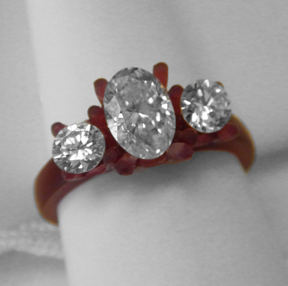 three stone diamond engagement ring wax model kloiber jewelers